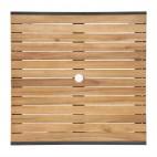Table carrée Bolero, en acier et acacia, 800 mm