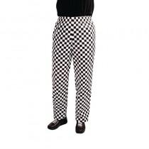 Pantalon de cuisinier Whites Easyfit à carreaux blanc et noir, en polyester-coton