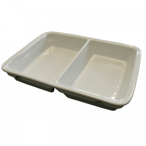 Plat rectangulaire en porcelaine, 2 compartiments, volume 2 x 400 ml