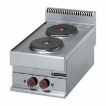 Réchaud électrique professionnel, 2 plaques, TRI 400 V