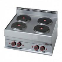 Réchaud électrique professionnel, 4 plaques, TRI 400 V