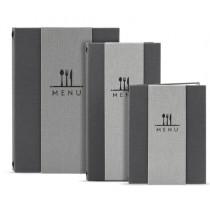 Protège menu effet tissu A4 gris 8 vues insert Pochette Classique PVC semi rigide