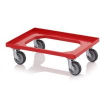 Chariot porte bacs rouge pour 1x bac 600 x 400 mm