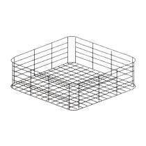 Panier verres carré, fond plat 400 x 400 x 135 mm