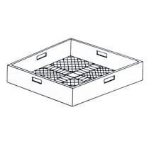Panier verres carré, fond plat 500 x 500 x 105 mm