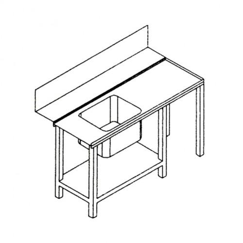 Table latérale droite avec évier pour lave-vaisselles à capot