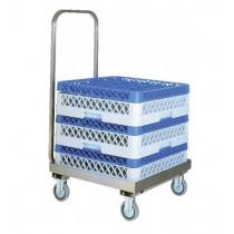 Chariot porte casiers de lave-vaisselle, inox, avec barre de poussée