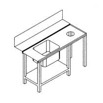Table latérale droite avec évier et orifice 1500 x 590 x 850 mm