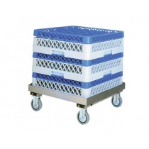 Chariot porte casiers de lave-vaisselle, inox , sans barre de pousée