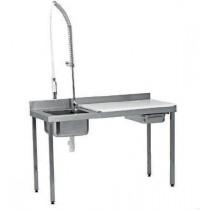 Table de préparation, dessus polyéthylène + trou vide-déchets + douchette, L 1500 x P 600 mm, bac à gauche