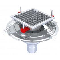 Siphon Eskis hygiène-First avec grilles inox, 200 x 200 mm, sortie verticale, Ø 75 mm