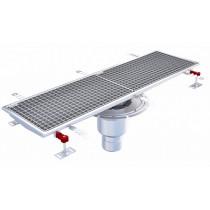 Caniveau Eskis HygieneFirst avec grilles inox, 1000 x 270 mm, sortie verticale centrée, Ø 110 mm
