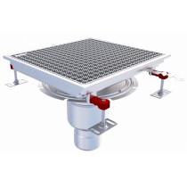 Caniveau Eskis HygieneFirst avec grilles inox, 400 x 370 mm, sortie verticale centrée, Ø 110 mm