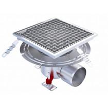 Siphon Eskis HygieneFirst avec grilles inox, sortie horizontale, 300 x 300 mm, Ø 157 mm