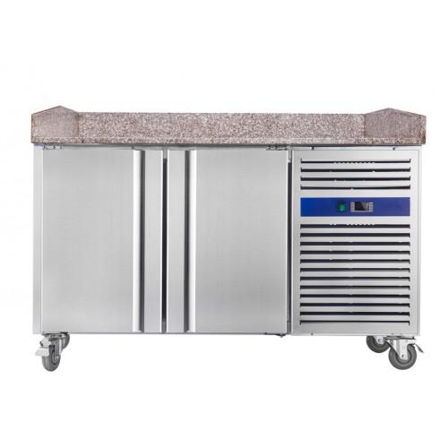 Table à pizza réfrigérée, froid positif, surface en granit, 2 portes, 390 L, 370 W