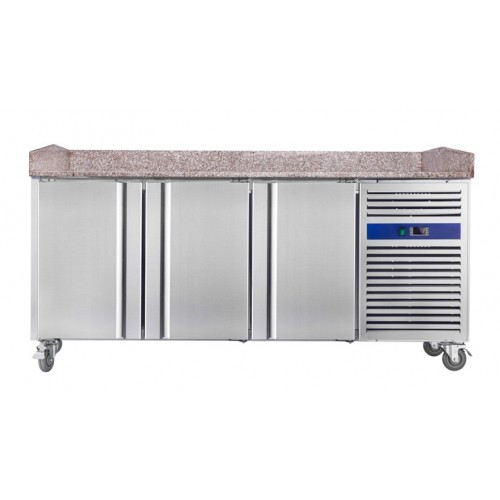 Table à pizza réfrigérée, froid positif, surface en granit, 3 portes, 540 L, 450 W