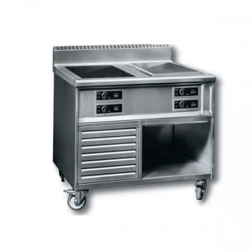 Meuble induction sur mesure, gamme modulaire Duo Concept 2 feux Induction Premium + Plancha 2 zones, total 20 KW