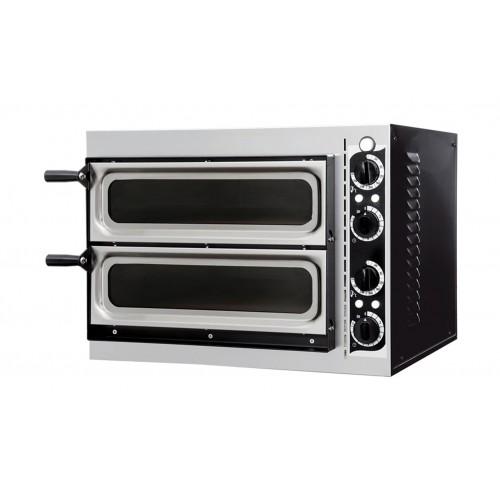 Four à pizza, éléctrique mécanique, acier inox, Basic 2/40 GLASS & LIGHT - 4 thermostats