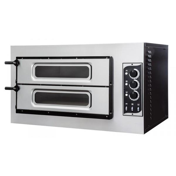 Four à pizza, éléctrique mécanique, acier inox, Basic 2/50 GLASS & LIGHT - 3 thermostats