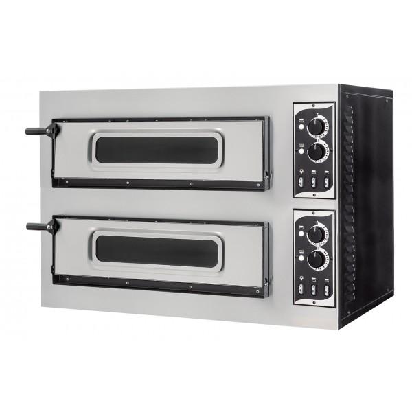 Four à pizza éléctrique mécanique, inox, Basic 2/50 GLASS 4 thermostats