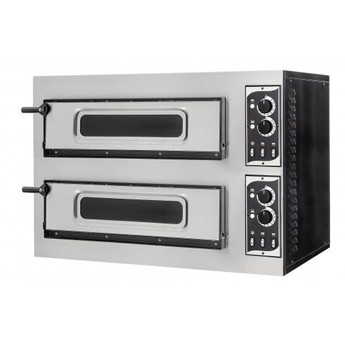 Four à pizza éléctrique mécanique, inox, Basic 2/50 GLASS & LIGHT - 4 thermostats
