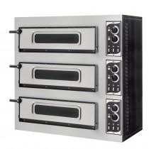 Four à pizza éléctrique mécanique, inox, Basic 3/50 GLASS & LIGHT - 6 thermostats