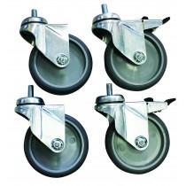 Plus-value pour roulettes ø 100 mm chape zinguée vissées (2 avec freins, 2 sans frein)