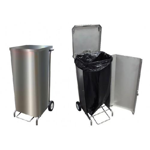 Porte-sacs mobile inox caréné 100 L à ouverture frontale