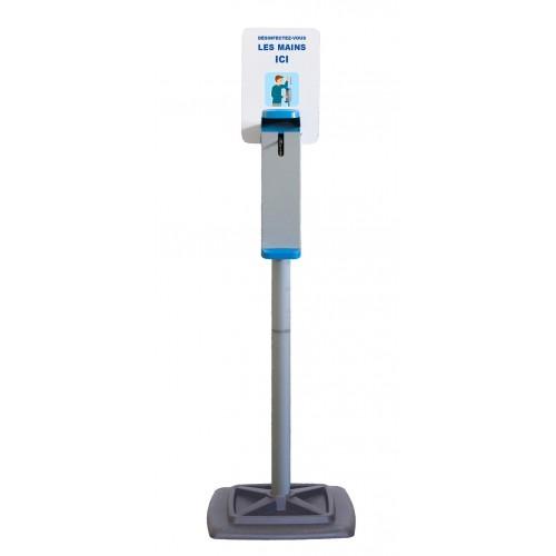 Distributeur manuel de gel sur pied, en acier peint, H 1320 mm