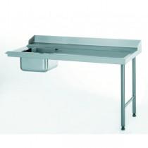 Table d'entrée standard avec bac, adossée, raccordable à gauche, largeur 760 mm