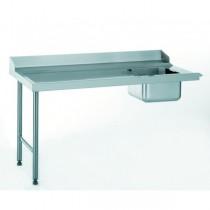 Table d'entrée standard avec bac, raccordable à droite, largeur 760 mm