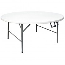 Table ronde pliable au centre, Bolero blanche, Ø 1530 mm
