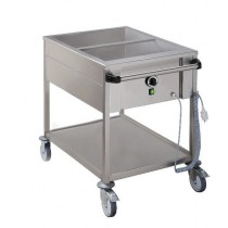 Chariot bain marie professionnel, acier inoxydable, 2 cuves GN1/1-200 mm