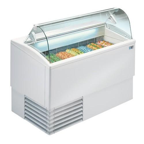 Vitrine a glace professionnelle, tropicalisée, vitre incurvée, ISETTA 7R LX TP , L 1354 x P 800 x H 1176 mm