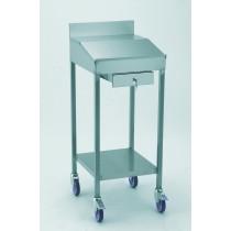 Pupitre sur roulettes, avec tiroir fermant à clé, acier inoxydable, L 515 x l 565 x H 1300 mm