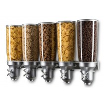Distributeur d'aliments secs, gamme Exclusive, 5L manette en croix, 5 bols, 5 x 5 L