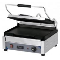 Panini grill avec timer, grand premium rainurée - lisse, en inox, 2400 W