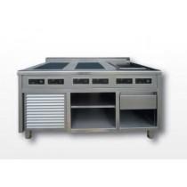Meuble INOX A304 spécial induction, modulaire, modèle D, 2 x 3500 W
