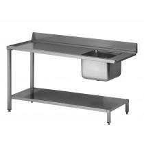 Table d'entrée lave vaisselle avec 1 bac, avec étagère à gauche du LV, sans TVO