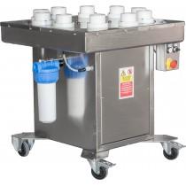 Machine rince-bouteilles semi-automatique, avec 10 positions de bouteilles