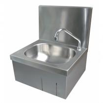 Lave-mains avec mitigeur, inox AISI-304 18/10, adossé