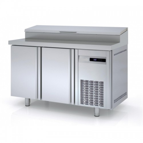 Meuble de préparation pizza, 2 portes pleines, 362 L, 8 bacs GN 1/3 - Gaz / Puissance frigorifique (W) / Consommation (W) - R-290a / 502 / 264 - réf MFEI80-150-1-55
