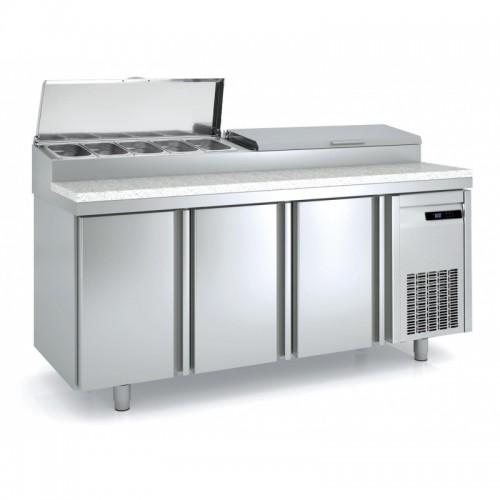 Meuble de préparation pizza, 3 portes pleines, 562 L, 10 bacs GN 1/3 - Gaz / Puissance frigorifique (W) / Consommation (W) - R134a* / 485 / 511 - réf MFEI80-200-55