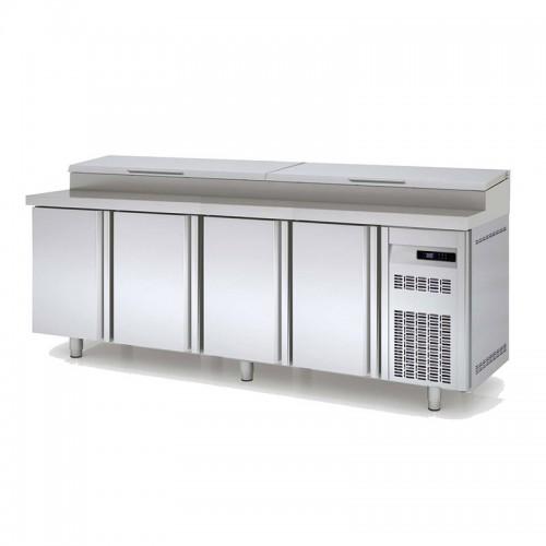 Meuble de préparation pizza, 4 portes pleines, 761 L, 12 bacs GN 1/3 - Gaz / Puissance frigorifique (W) / Consommation (W) - R134a* / 485 / 511 - réf MFEI80-250-55