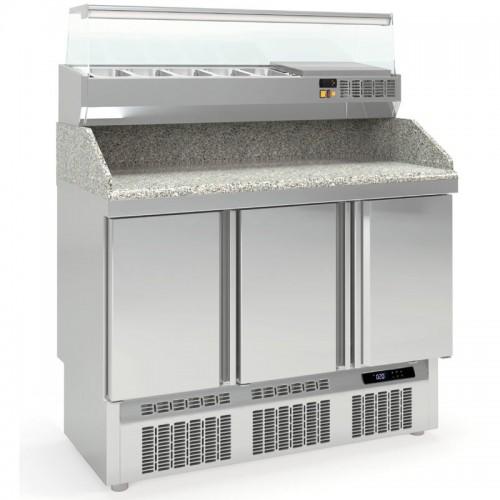 Meuble à pizza compact, 3 portes pleines, 264 L - Gaz / Puissance frigorifique (W) / Consommation (W) - R-290a / 820 / 614 - réf MFPP-140-1-55