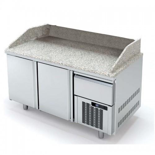 Meuble à pizza avec tiroir à pâtons, 2 portes pleines, 362 L - Gaz / Puissance frigorifique (W) / Consommation (W) - R-290a / 502 / 235 - réf MR80-160-1-55