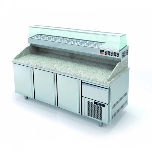 Meuble à pizza avec tiroir à pâtons, 3 portes pleines, 562 L - Gaz / Puissance frigorifique (W) / Consommation (W) - R134a* / 245 / 249 - réf MR80-210-55