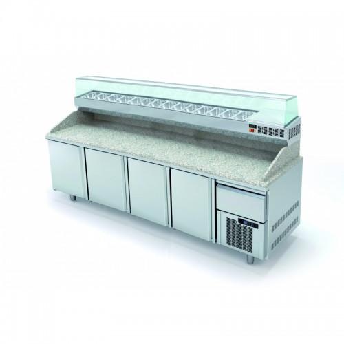 Meuble à pizza avec tiroir à pâtons, 4 portes pleines, 761 L - Gaz / Puissance frigorifique (W) / Consommation (W) - R-290a / 845 / 355 - réf MR80-265-1-55