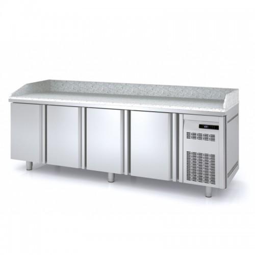 Meuble à pizza, 4 portes pleines, 3 bacs 600 x 400, 761 L - Gaz / Puissance frigorifique (W) / Consommation (W) - R134a* / 304 / 289 - réf MR80-250-55