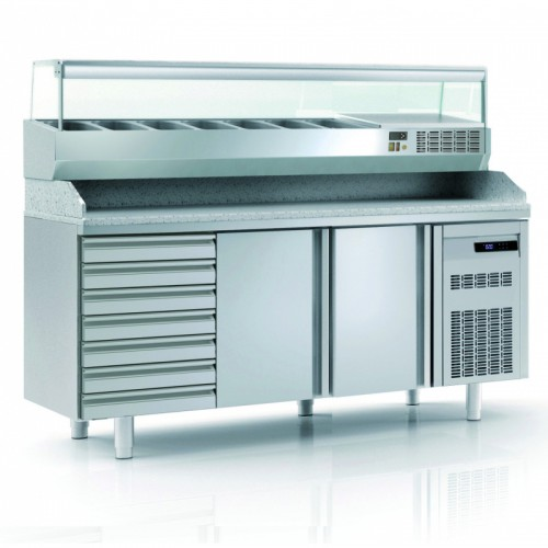 Meuble à pizza avec bloc 7 tiroirs neutres en inox, 2 portes pleines, 362 L - Gaz / Puissance frigorifique (W) / Consommation (W) - R-290a / 502 / 235 - réf MFP80-200-1-55